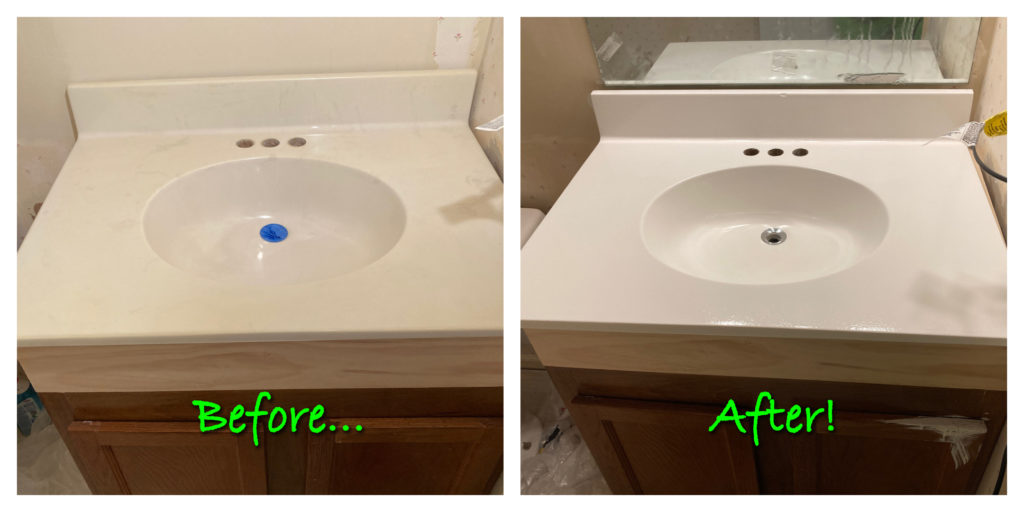 diy bathroom vanity sink resurface / painting, before and after photos
