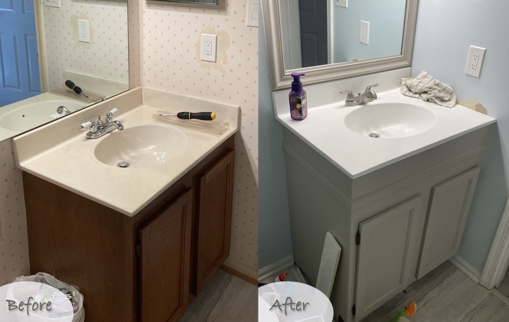 how to raise a bathroom vanity - before and after photos