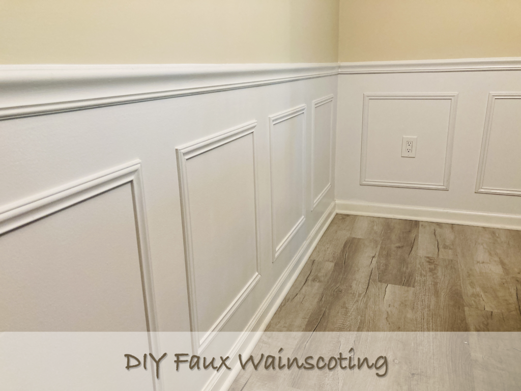 white faux wainscoting made from strips of molding